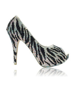 Crystal Couture Black And Silver Zebra Print Peep Toe Ladies High Heels 1
