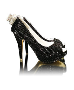 Crystal Couture Black Crystal Ladies Peep Toe High Heels With Crystal Bow 1