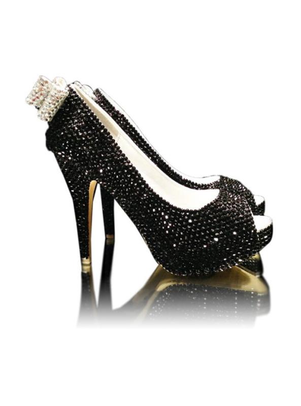 2dc4c8a1879 Black Crystal Ladies Peep Toe High Heels With Crystal Bow - Crystal ...