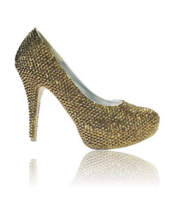 Crystal Couture Gold Crystal Platform Court Shoe High Heels 1