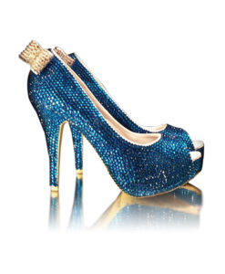 Crystal Couture Something Blue Ladies Crystal Peep Toe With Crystal Bow 1