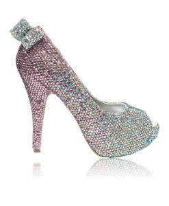 Crystal Couture Ladies Baby Pink Peep Toes with Crystal Bow