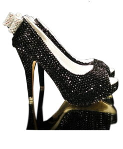 Crystal Couture Ladies Black High Heel Crystal Peep Toes with Crystal Bow Detail