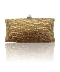 Crystal Couture Ladies Eveing gold clutch bag
