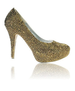 Crystal Couture Ladies Gold Crystal Platform Shoes