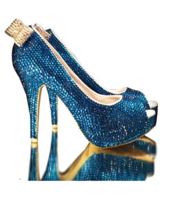 Crystal Couture Something Blue Crystal High Heel Peep Toes