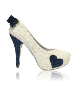 Crystal Couture Blue Heart Closed Toe Platform High Heels Made With Pearls 1