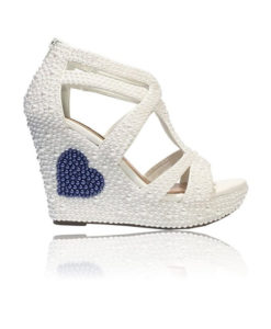 Crystal Couture Blue Heart Sandal Wedge Platform High Heels Made With Pearls 1