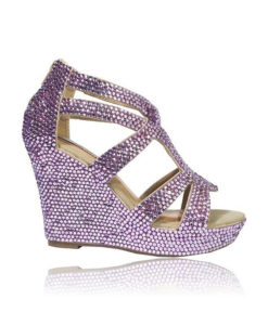 Crystal-Couture Crystal Sandal Wedge Platform High Heels