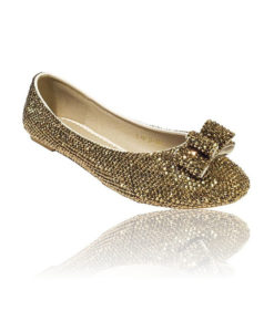 Crystal Couture Gold Crystal Flat Bridal Shoes With Bow Detail 1