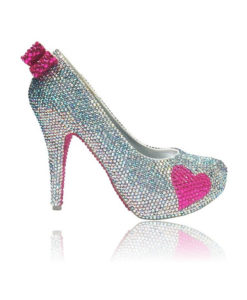 Crystal Couture Hot Pink Heart Closed Toe Platform High Heels 1