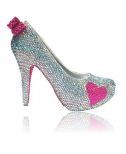 Crystal Couture Designer Lady Crystal Shoes Pink Bow Platform Shoes