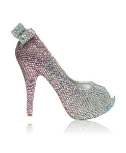 Crystal Couture Pink Crystal Ladies Peep Toe High Heels With Crystal Bow 1