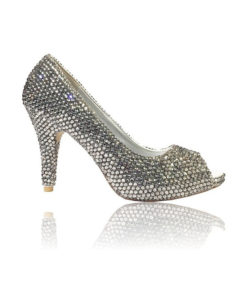 Crystal Couture Silver Ladies Peep Toe High Heel With Small Heel 1