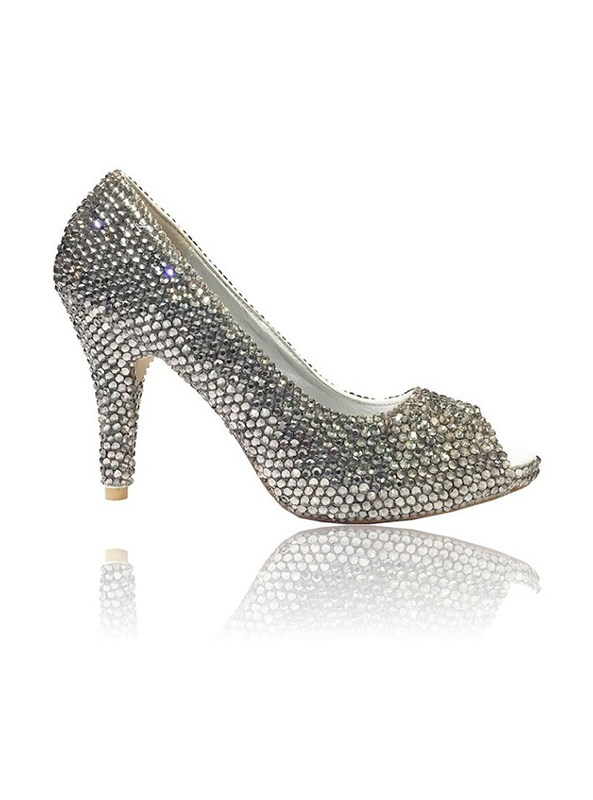 a2f327917b35 Silver Ladies Peep Toe High Heels With Small Heel - Crystal Couture