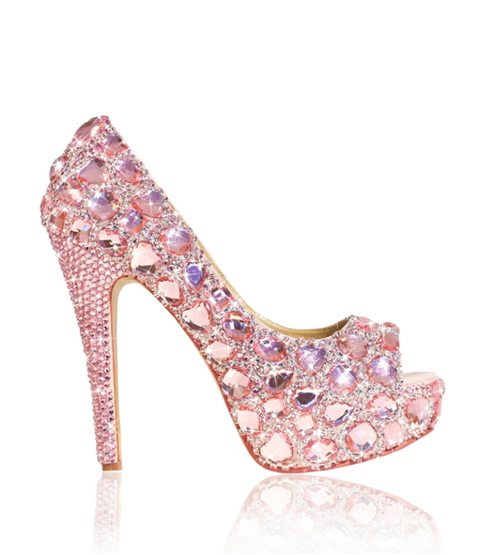 Chunky Crystal Diamante Ladies Peep Toe High Heels - Crystal Couture