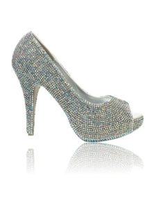 Crystal Couture Crystal Platform Peep Toe Small Crystal