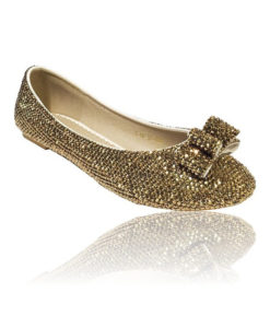 Crystal Couture Gold Bridal Flat Slipper