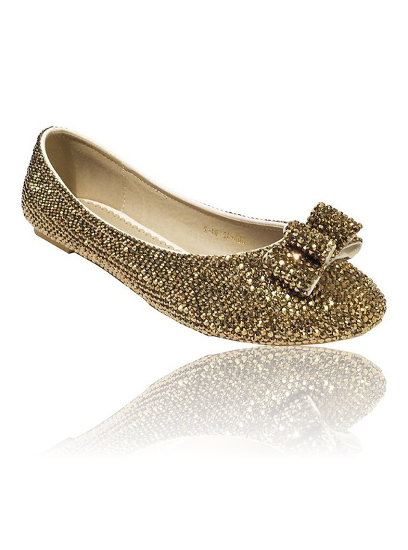 Gold Crystal Flat Bridal Shoes With Bow Detail