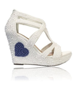 Crystal Couture Pearl Sandal Wedge Something Blue Bridal Shoe