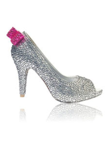 Crystal Couture Crystal Wedding Shoes Silver Crystal Peep Toe Pink Bow Detail