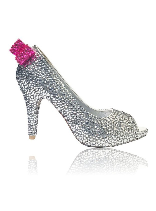 3d83d26449ec Crystal Couture Crystal Wedding Shoes Silver Crystal Peep Toe Pink Bow  Detail