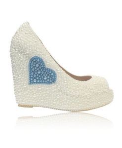 Crystl Couture Something Blue Pearl Wedge Bridal Shoe