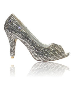 Crystsal Couture Crystal Peep Toe Small Heel