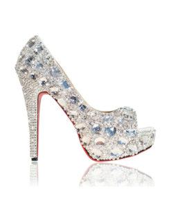 Crystal Couture Chunky Crystal Diamante Ladies Peep Toe High Heels 1