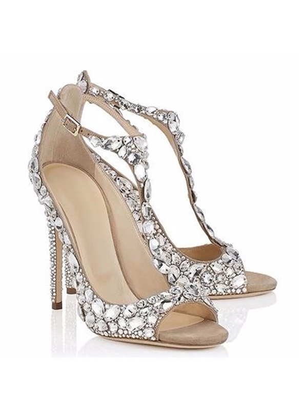 e17b0e9437f5 Crystal Embellished T Strap Wedding Shoes - Crystal Couture