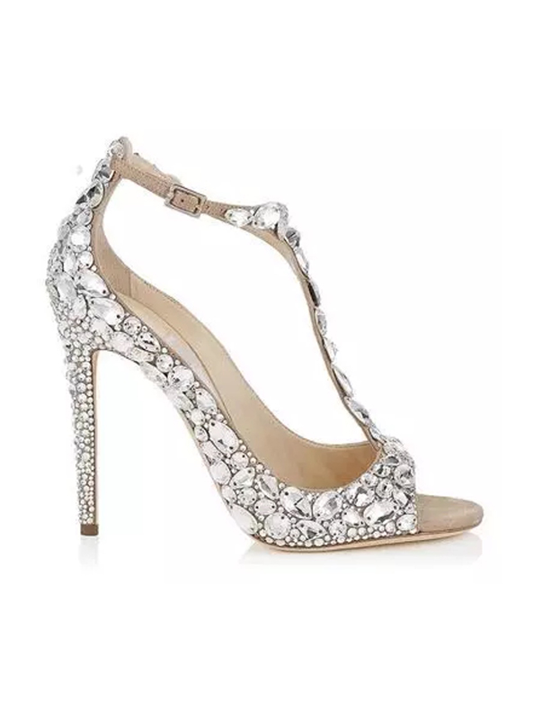 factory authentic reliable quality great quality Crystal Embellished T Strap Wedding Shoes