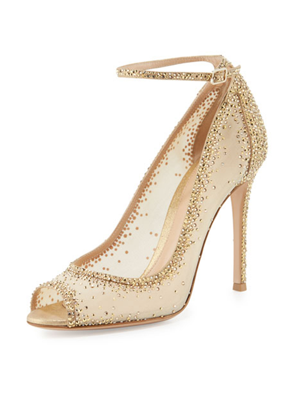 c7a008e1b7e6 Crystal Couture Gold Mesh Ladies High Heels - Crystal Couture