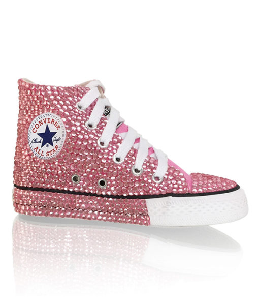 Crystal Couture Children Converse Baby Pink