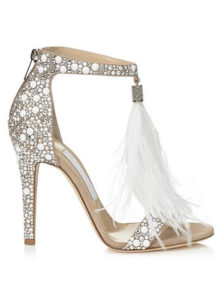 Crystal Couture Suede Crystal Embellished Sandals with Feather Tassel 1