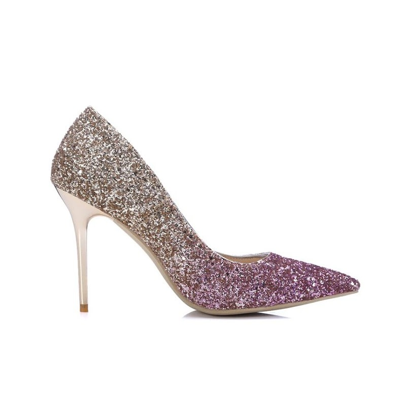20d6f9fde970 Gold   Pink Glittery Ladies High Heel Shoes - Crystal Couture