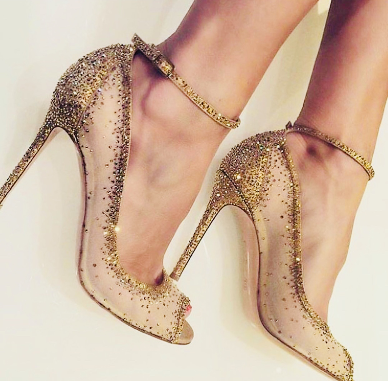 3a5a9e24f Crystal Couture Gold Mesh Ladies High Heels - Crystal Couture