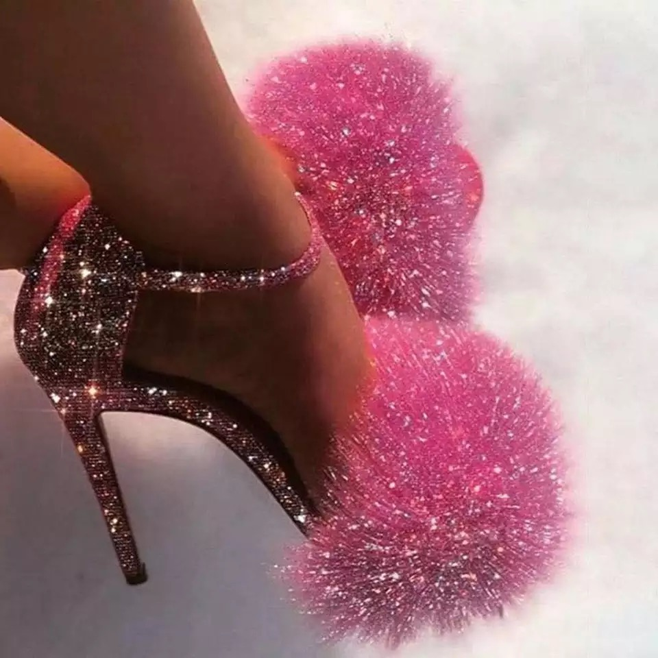 Pink Fluffy Ladies Crystal Couture