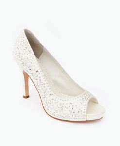 Crystal Couture Crystal Bridal Peep Toe Heels