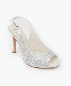 Crystal Couture Crystal Peep-toe Slingback Heels