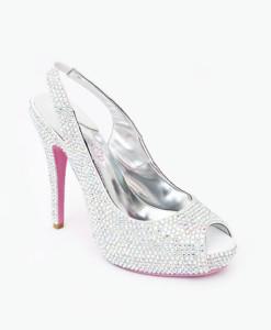 Crystal Couture Crystal Slingback Peep Toe Heels