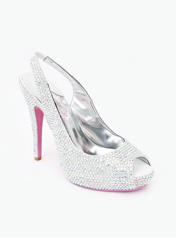 9f2451d01 Crystal Slingback Peep Toe Heels - Crystal Couture