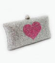 Crystal Couture Pink Heart Crystal Clutch Bag