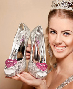 Crystal Couture Pink Heart Crystal Peep Toe Heels