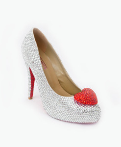 Crystal Couture Red Heart Crystal Peep Toe Heels