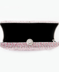 Crystal Couture Silver and Baby Pink Crystal Clutch Bag