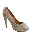 Crystal Couture Wales Shoes Heels White Pearl Peep Toe Heels